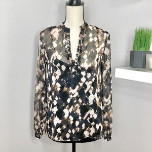 Black Floral Print Sheer Long Sleeve Shirt Sz S